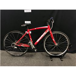 RED AND WHITE BIANCHI TIE 27 SPEED ROAD BIKE, NO BRAKES, CLIP PEDALS