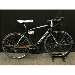 BLACK SPECIALIZED ROUBAIX 18 SPEED ROAD BIKE WITH CLIP PEDALS