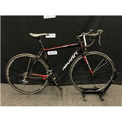 RED AND BLACK DEVINCI SILVERSTONE 18 SPEED ROAD BIKE, WITH CLIP PEDALS, MEDIUM FRAME SIZE