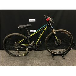 BLACK AND GREEN ROCKY MOUNTAIN FUSION 9 SPEED FRONT SUSPENSION MOUNTAIN BIKE WITH REAR HYDRAULIC