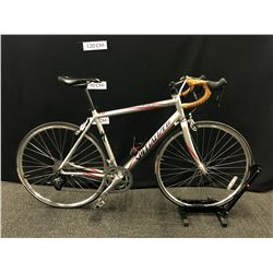 GREY SPECIALIZED ALLEZ 20 SPEED ROAD BIKE, 56 CM/LARGE FRAME SIZE, SHIFTERS/DERAILLEURS MAY NEED