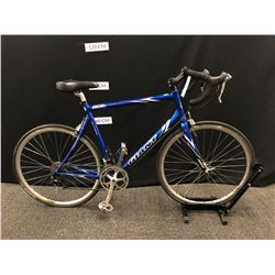 BLUE GIANT OCR1 18 SPEED ROAD BIKE, REAR BRAKE NEEDS ADJUSTMENT, CLIP PEDALS