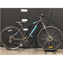 BLACK AND BLUE TREK MARLIN 5 FRONT SUSPENSION MOUNTAIN BIKE WITH FRONT AND REAR DISC BRAKES, 18.5""