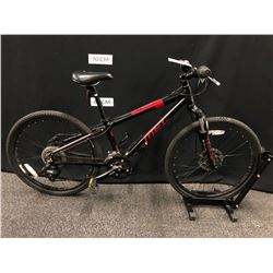BLACK AND RED MEC ACE  21 SPEED FRONT SUSPENSION KIDS MOUNTAIN BIKE WITH FRONT AND REAR DISC