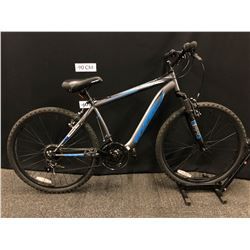 BLUE AND GREY HYPER BOUNDARY TRAIL 26 18 SPEED FRONT SUSPENSION MOUNTAIN BIKE