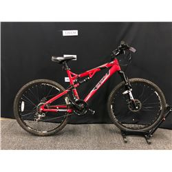 "RED CCM SCOPE 21 SPEED FULL SUSPENSION MOUNTAIN BIKE WITH FRONT AND REAR DISC BRAKES, 19"" FRAME"