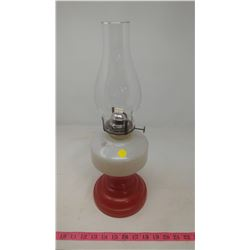 RED AND WHITE #2 COAL OIL LAMP
