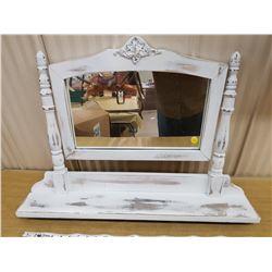Wooden framed mirror shelf