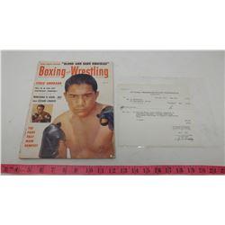 1954 BOXING MAGAZINE & OTTAWA TRANSPORTATION RECEIPT 1950