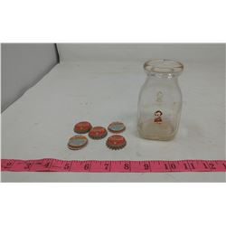LINCOLN DAIRY CO. HALF PINT BOTTLE (CHIPPED) & 5 BOTTLE CAPS