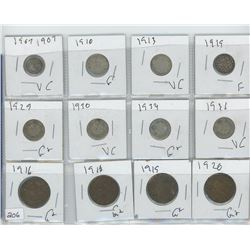 1907 (1) CANADIAN NICKEL,(7) 1910,1913,1919,ETC CANADIAN 10 CENT & ASSORTED COINS