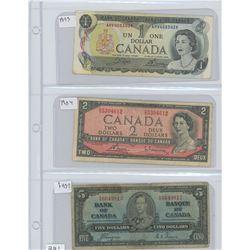 1973 CANADIAN $1.00,1954 CANADIAN $2.00, 1937 CANADIAN $5.00