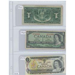 1937,1954,1973 CANADIAN $1.00 BILLS
