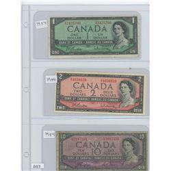1954 CANADIAN $1.00, 1954 CANADIAN $2.00, 1954 CANADIAN $10.00 BILLS