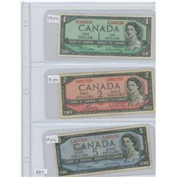 1954 CANADIAN $1.00,$2.00 & $5.00 BILLS