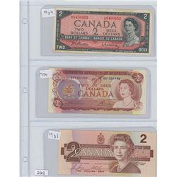 1954,1974,1986 CANADIAN $2.00 BILLS