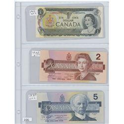 1973UNC $1.00 CANADIAN BILL, 1986UNC $2.00 CANADIA BILL, 1986UNC $5.00 CANADIAN BILL