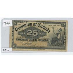 1900 DOMINION OF CANADA 25 CENT BILL