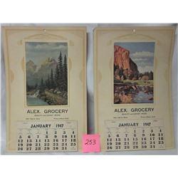 2 - 1949 ' Alex Grocery' Prince Albert Calendars