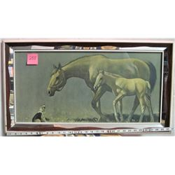 """28"""" X 14"""" Partial mirror frame picture horse/foal/dog"""