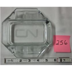 "Vintage heavy cut glass 'CN' 5 1/4"" ashtray"