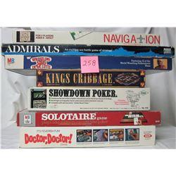 Lot of 7 boardgames (1971 Showdown Poker, 1972 Admirals, 1973 Solitaire, 1978 Doctor-Doctor, 1985 WW