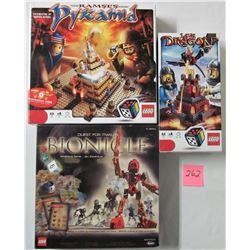 3 Lego games - 2001 Quest for Makuta, 2010 #3838 Lava Dragon, 2010 #3843 Ramses Pyramid
