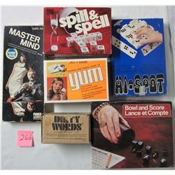 6 vintage board games - 1969 Hi-spot, 1972 Mastermind, 1974 bowl & score, 1975 spill & spell, 1977 D