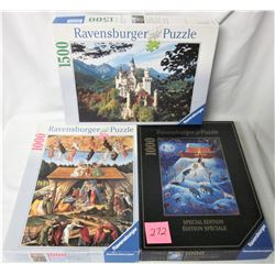 3 Ravensburger puzzles- 1500 piece Neuschwanstein castle of King Louis II (2000), 1000 piece Birth o