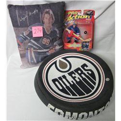 Edmonton Oilers foam 'puck head', Wayne Gretzky pillow, new 1998 pro action starting lineup NYR Wayn