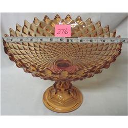 """vintage 12"""" Amber pedestal fruit bowl"""