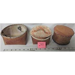 3 birch bark baskets & 2 lids