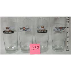 Set of 4 Miller draft/Harley Davidson beer glasses