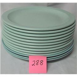 "set 13 Jadite green Melmac/melamine 10"" plates"