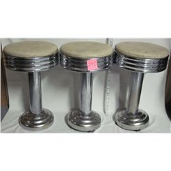 3 vintage 1950's-60's art deco soda fountain Chrome/Nickle swivel stools