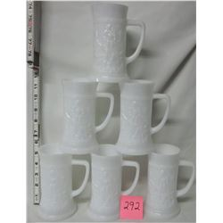 set 6 white embossed milk glass 3d steins
