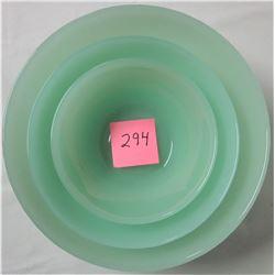 """set 3 Jadite serving nesting bowls 10"""" 8"""" & 6"""" unmarked"""