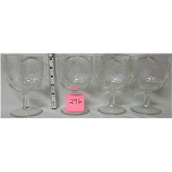Set of 4 ornate etched goblets