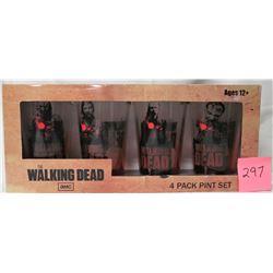 new set of 4 2013 AMC Walking Dead zombie pint glasses