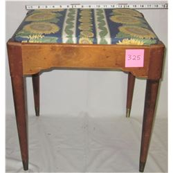 vintage wooden sewing stool with storage under seat