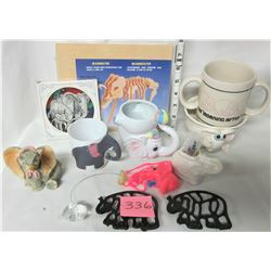 lot of 12 elephant collectibles, assorted