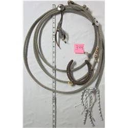 rawhide whip western wall hanging