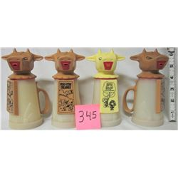 4 vintage 'whirley' moo cow creamers