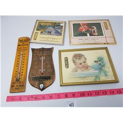 FIVE VINTAGE ADVERTISING THERMOMETERS