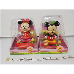 MICKEY AND MINNIE MOUSE BOBBLE HEADS