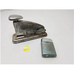 Vintage stapler & lighter