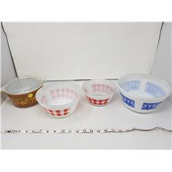3 Firestone & 1 Pyrex bowls