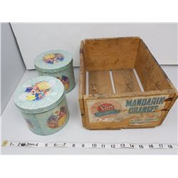 Wooden box and 2 vintage tins