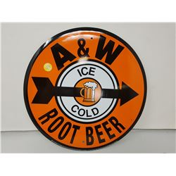 """A&W Rootbeer sign, 12"""" reproduction"""