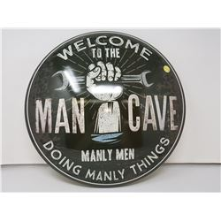 """Man cave reproduction button sign, 16"""""""
